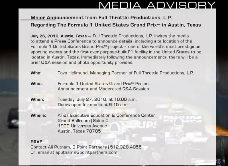 US GP Announcement